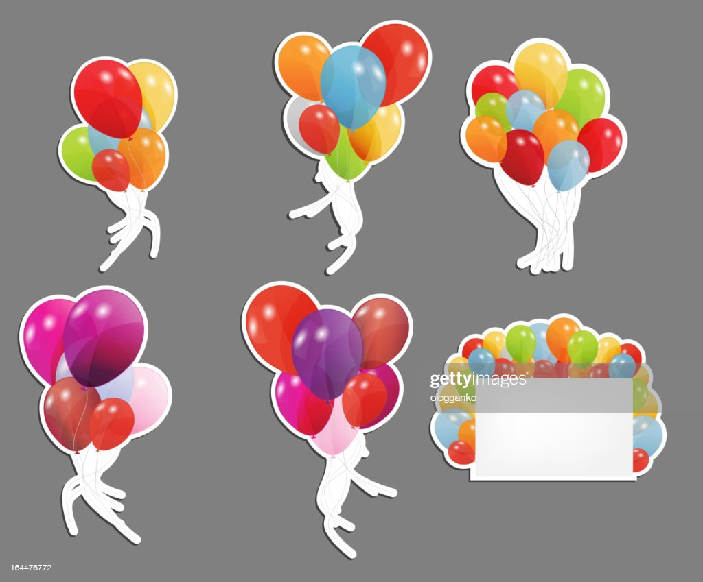 set of colored balloons, vector illustration