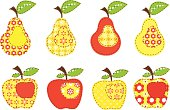 set of decorative apples and pears