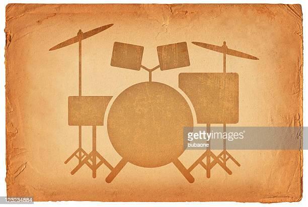 set of drums on old paper Background