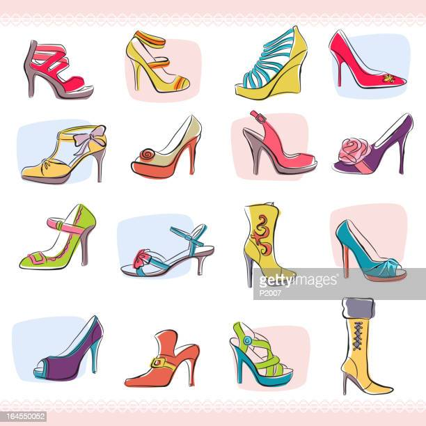 stockillustraties, clipart, cartoons en iconen met set of fashionable shoes - pump schoen
