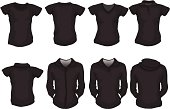 set of female shirts template in black