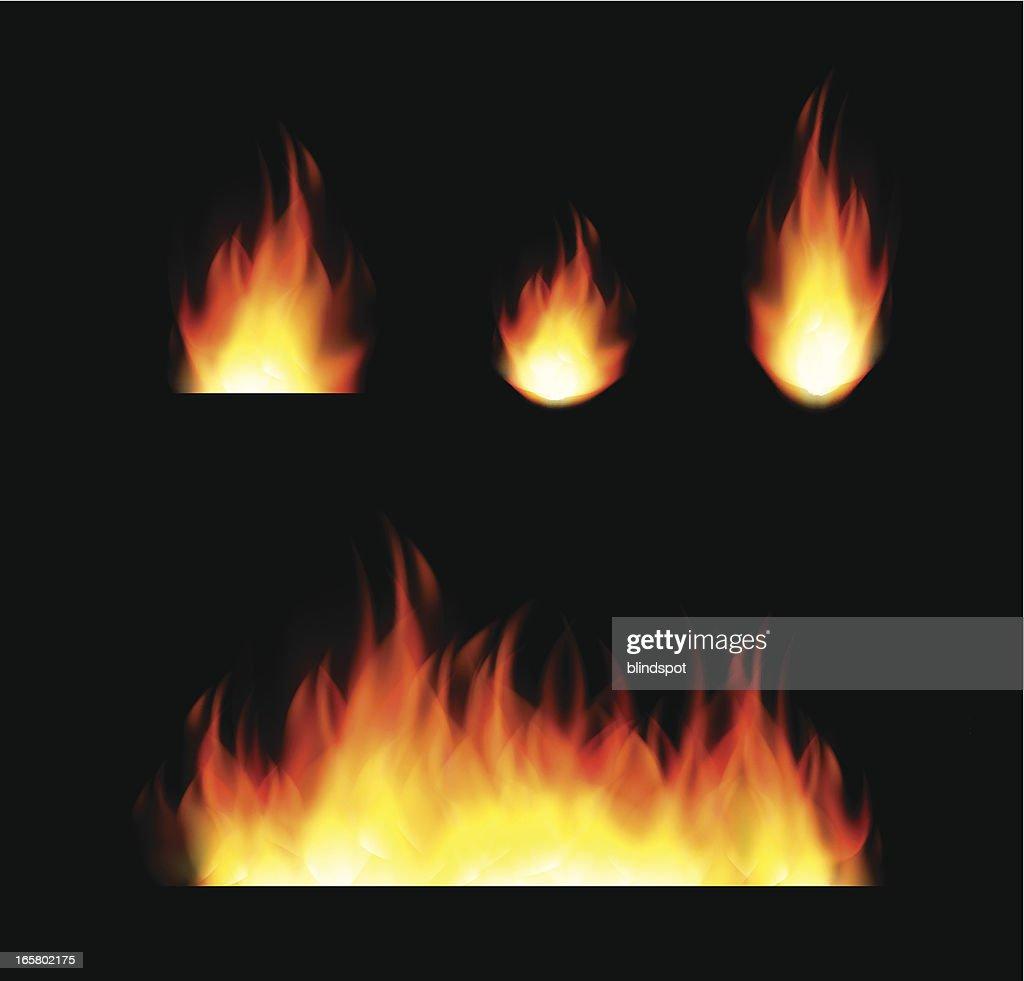 Set of Flames : stock illustration
