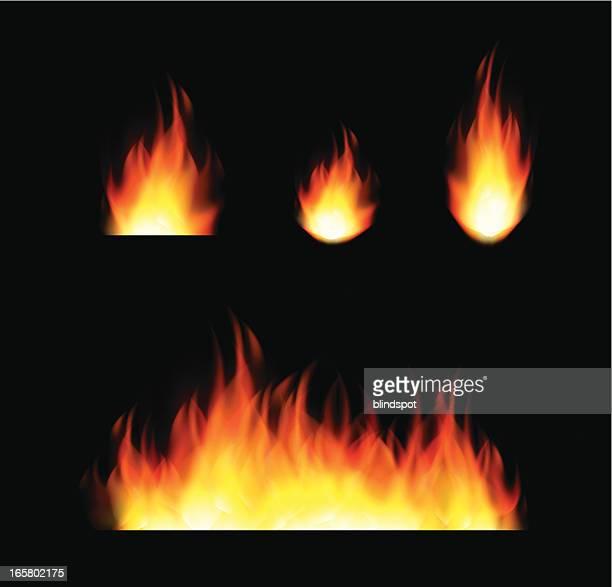 set von flames - flamme stock-grafiken, -clipart, -cartoons und -symbole