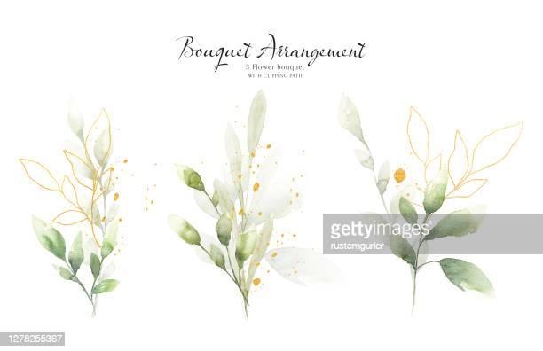 グリーンとゴールドリーフの水彩花束セット - ユーカリの葉点のイラスト素材/クリップアート素材/マンガ素材/アイコン素材