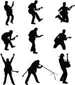 Set of Guitarist Silhouette
