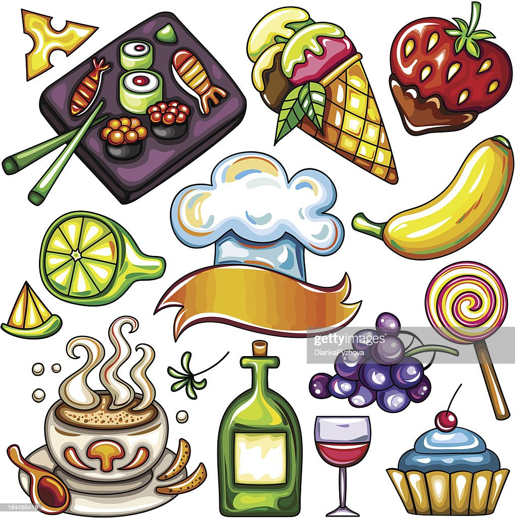 Set of ready-to-eat food icons part 3