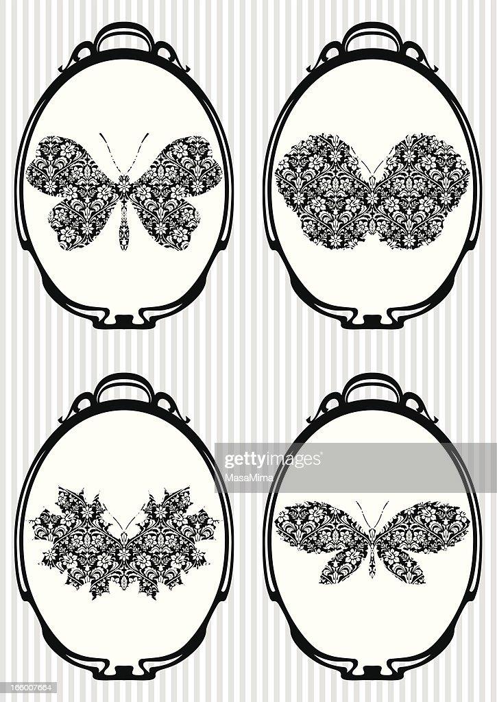 Set of Retro Icons: Autumn Butterflies