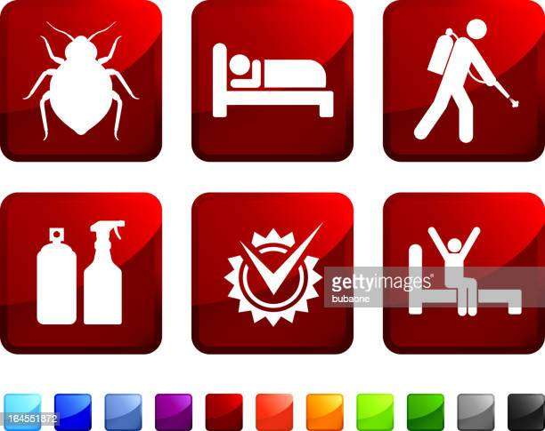 Set of six stickers to display bed bugs