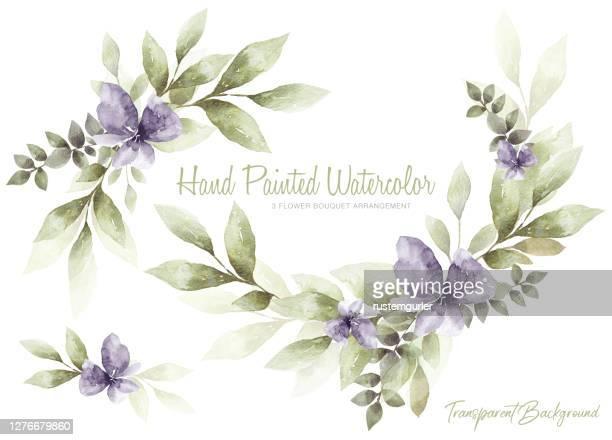 水彩の花と緑の葉のセット - ユーカリの木点のイラスト素材/クリップアート素材/マンガ素材/アイコン素材