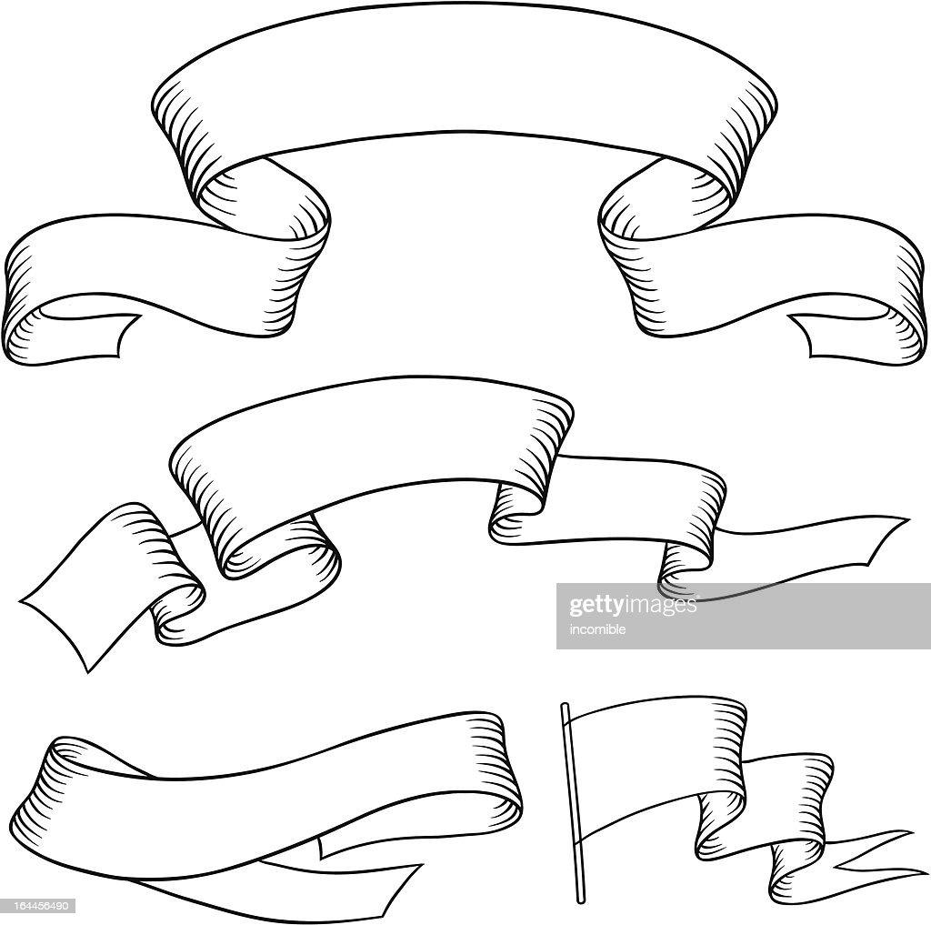 Set old vector banners hand drawn style