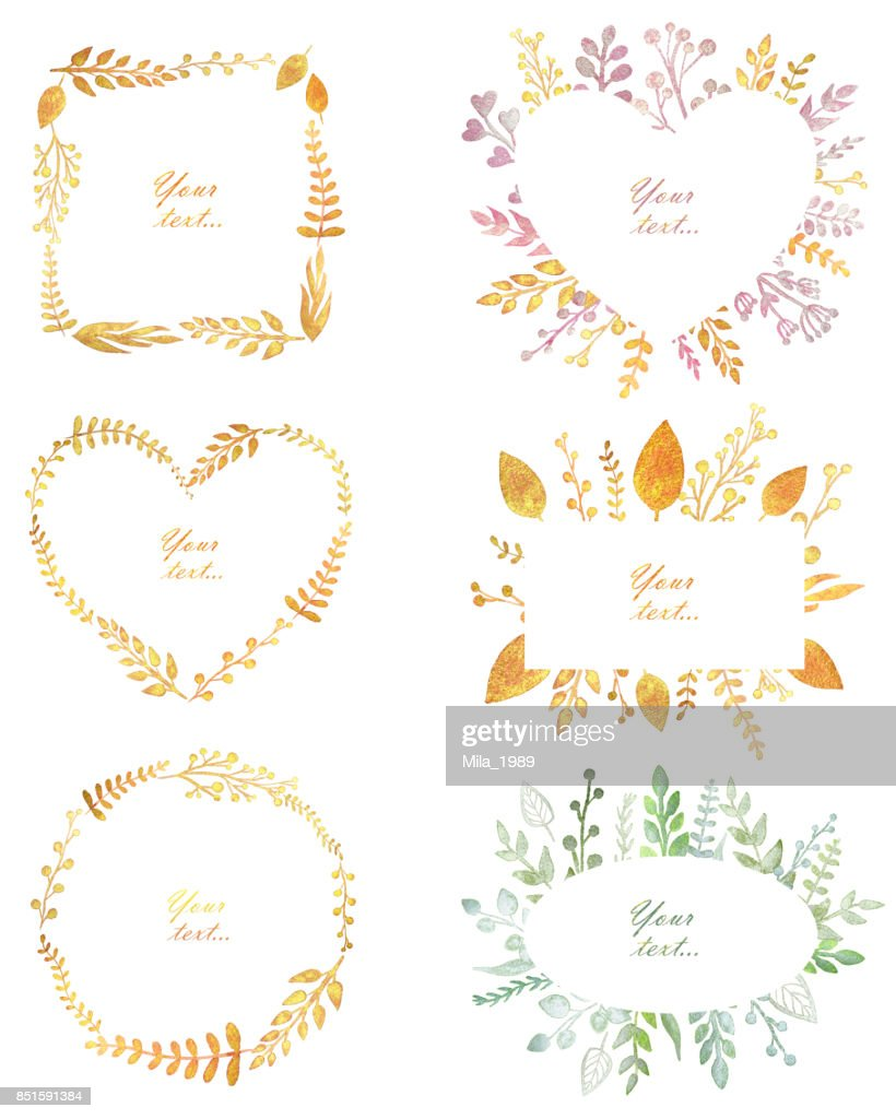 Set With Beautiful Frames With Pearl Watercolor Leaves Cute Design ...