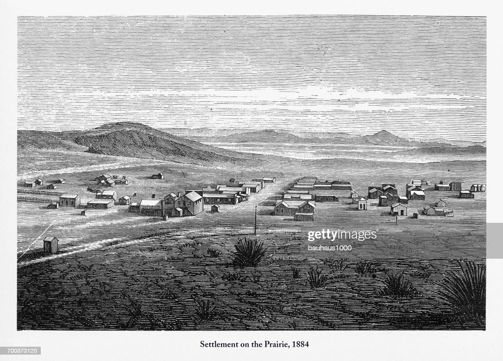 Settlement on the Prairie, Early American Engraving, 1884 : stock illustration