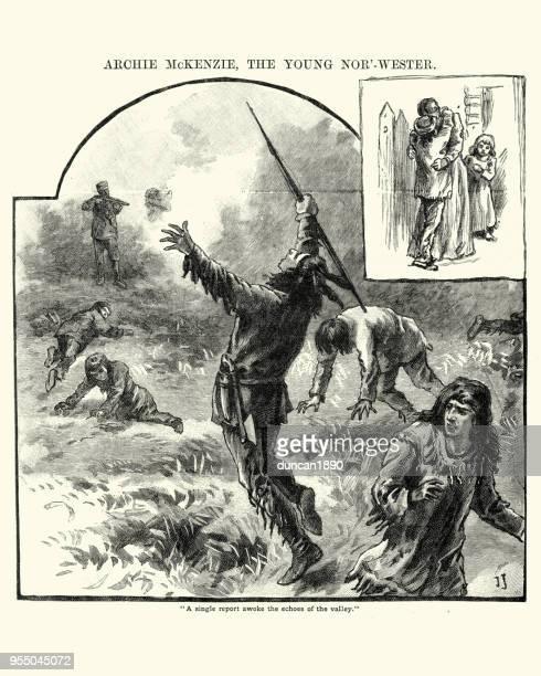 ilustraciones, imágenes clip art, dibujos animados e iconos de stock de colono tiro a un guerrero nativo americano, siglo xix - indios americanos sioux