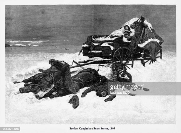 Settlers Caught in a Snow Storm, Early American Engraving, 1895
