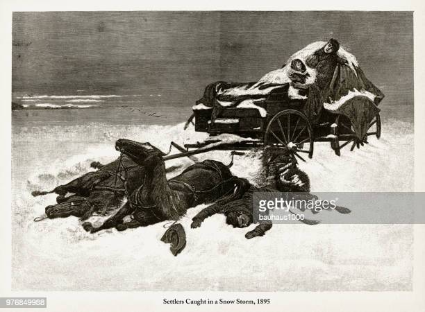 settlers caught in a snow storm, early american engraving, 1895 - blizzard stock illustrations, clip art, cartoons, & icons
