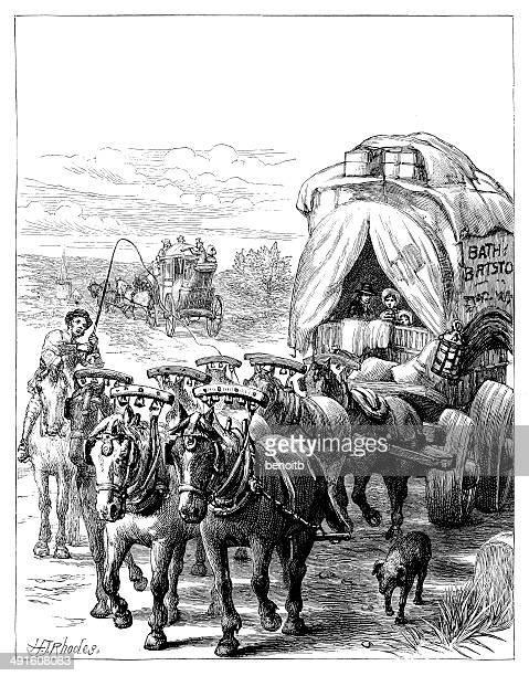 settlers - horse cart stock illustrations, clip art, cartoons, & icons