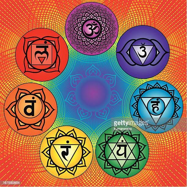 illustrations, cliparts, dessins animés et icônes de sept chakras - chakra