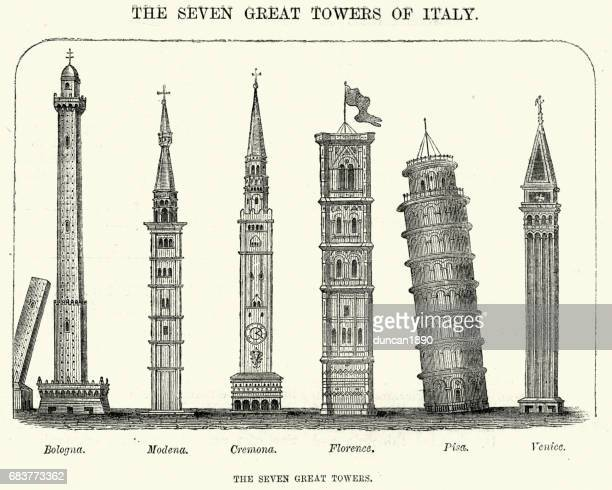 seven great towers of italy - leaning tower of pisa stock illustrations, clip art, cartoons, & icons