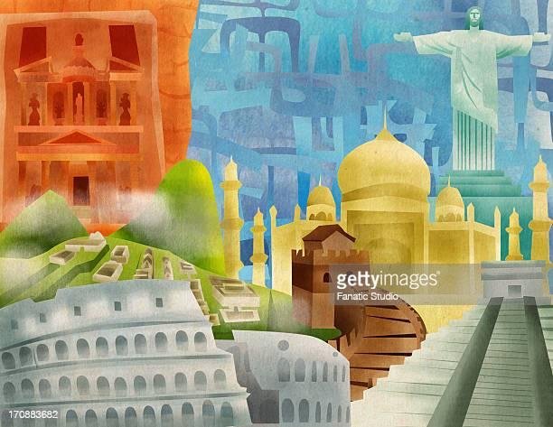 ilustraciones, imágenes clip art, dibujos animados e iconos de stock de seven wonders of the world - machu picchu