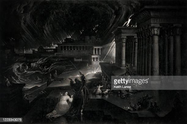 seventh plague of egypt - biblical event stock illustrations
