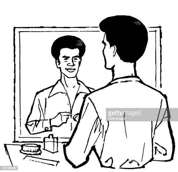 seventies man getting ready to go out - bathroom stock illustrations