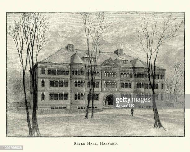 sever hall, harvard university, 19th century - cambridge massachusetts stock illustrations