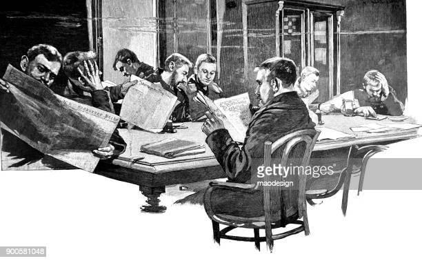 ilustraciones, imágenes clip art, dibujos animados e iconos de stock de varios hombres leer periódicos en la biblioteca - 1896 - grupo mediano de personas
