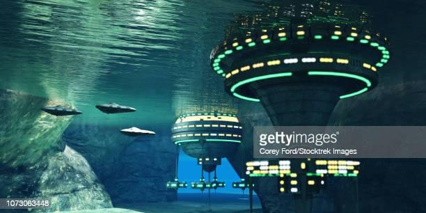 ilustraciones, imágenes clip art, dibujos animados e iconos de stock de several spaceships leave an underwater alien city. - triásico