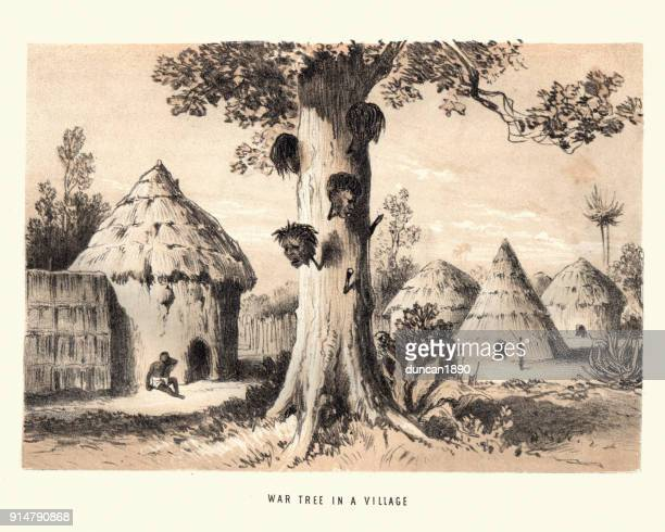 severed heads on the war tree on a african village - mozambique stock illustrations, clip art, cartoons, & icons