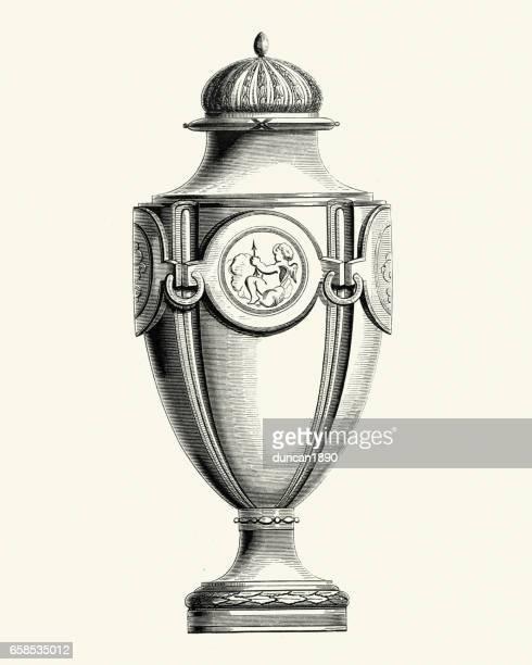 sevresware vase - urn stock illustrations