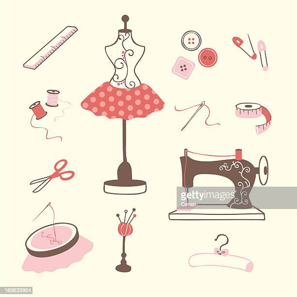 sewing and embroidery icons - sewing machine stock illustrations, clip art, cartoons, & icons