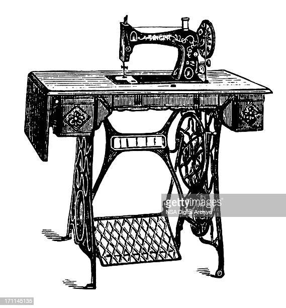 sewing machine | antique design illustrations - 19th century style stock illustrations