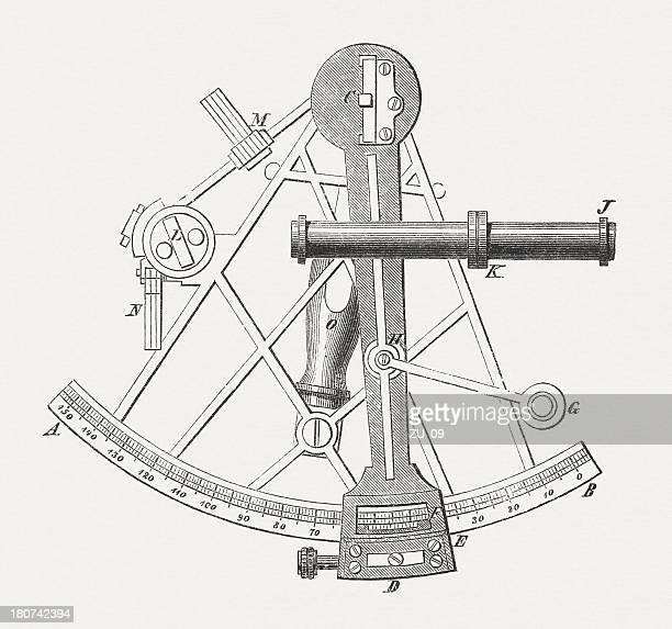 Sextant - measuring instrument, published in 1877