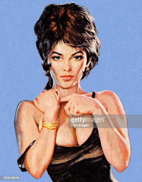 sexy brunette woman - seductive women stock illustrations, clip art, cartoons, & icons