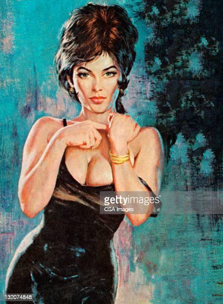 ilustraciones, imágenes clip art, dibujos animados e iconos de stock de sexy mujer de pelo oscuro - chicas de calendario