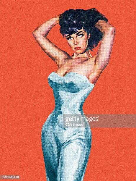 sexy dark haired woman - chest torso stock illustrations, clip art, cartoons, & icons