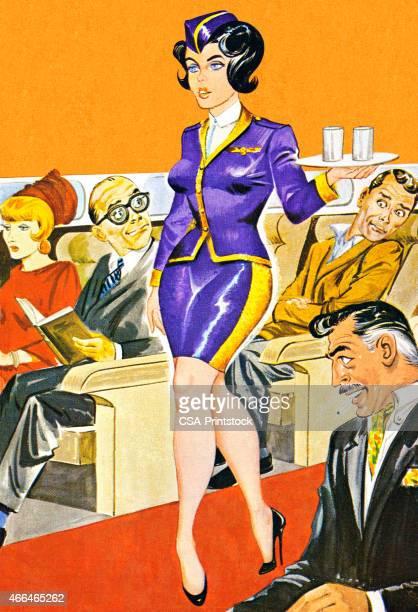 Sexy Stewardess With Tray