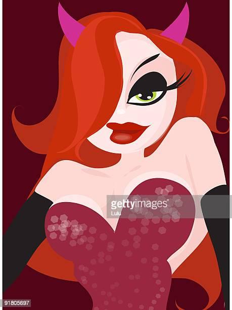 ilustrações de stock, clip art, desenhos animados e ícones de a sexy vixen with devils horns in a red dress - mulher fatal