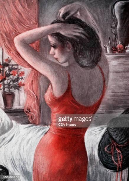 Femme Sexy dans une robe rouge