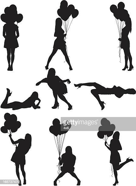 sexy woman with balloons - obscured face stock illustrations, clip art, cartoons, & icons