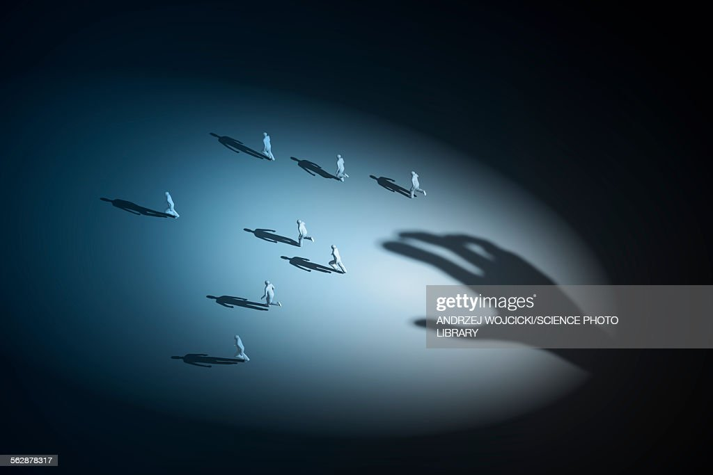 Shadow of a hand and human figures : stock illustration
