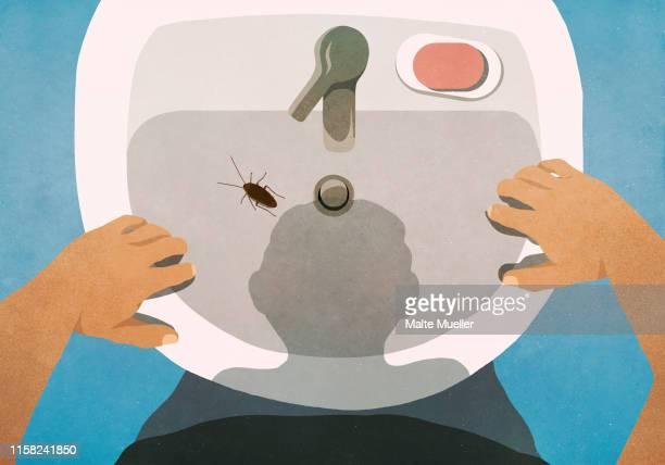 ilustraciones, imágenes clip art, dibujos animados e iconos de stock de shadow of man looking down at cockroach in bathroom sink - cucarachas