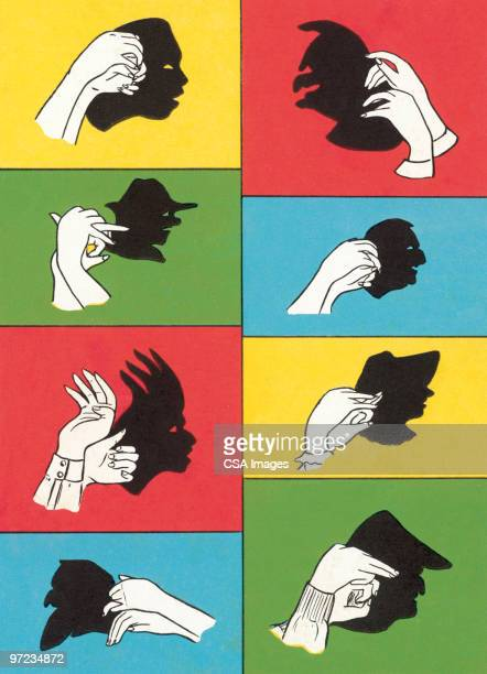 shadow puppet faces - puppet stock illustrations, clip art, cartoons, & icons