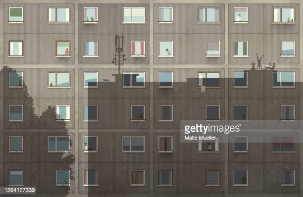 shadows on apartment building - large group of people stock illustrations