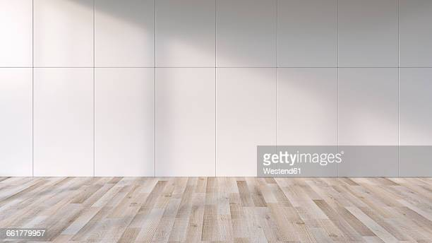 Shadows on the wall of an empty room with wooden floor, 3D Rendering