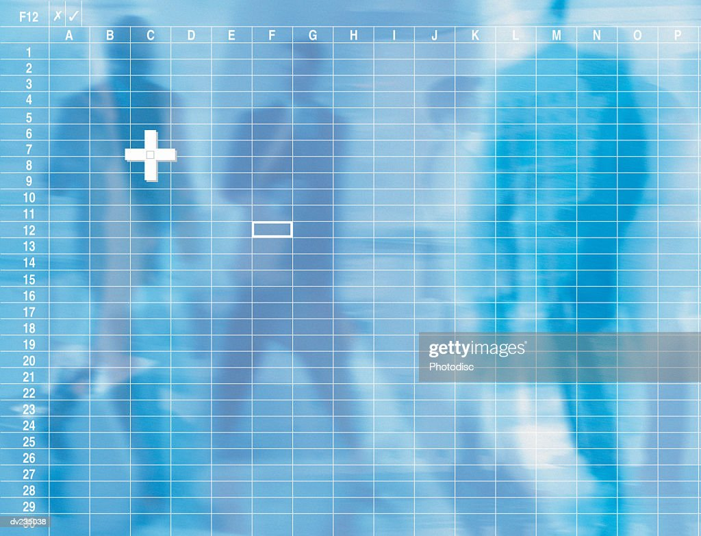 Shadowy blue images of people superimposed with blank spread sheet : stock illustration