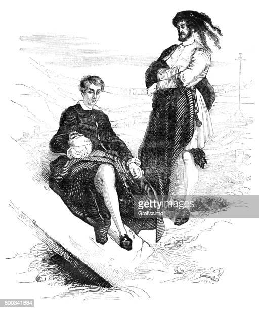 shakespeare hamlet and horatio with skull 1837 - actor stock illustrations, clip art, cartoons, & icons