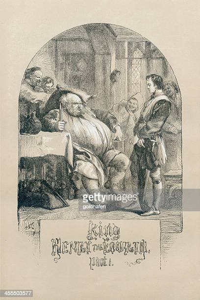shakespeare, king henry the fourth, engraving - classical theater stock illustrations, clip art, cartoons, & icons