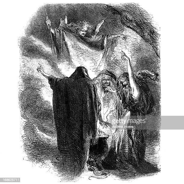 ilustraciones, imágenes clip art, dibujos animados e iconos de stock de shakespeare tres brujas de macbeth - bruja