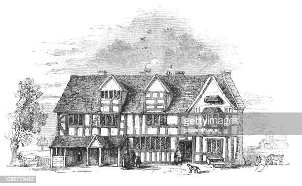 shakespeare's birthplace in stratford-upon-avon, england - stratford upon avon stock illustrations